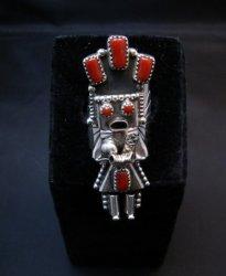 Navajo Coral Sterling Silver Kachina Ring, Doris Smallcanyon - sz8