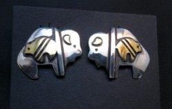 Navajo Sterling Silver Buffalo Bear Earrings, Tommy Singer
