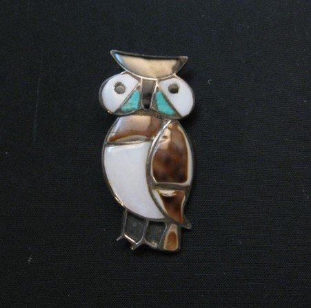 Image 0 of Vintage Native American Zuni Inlaid Owl Pin