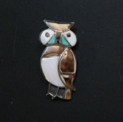 Vintage Native American Zuni Inlaid Owl Pin