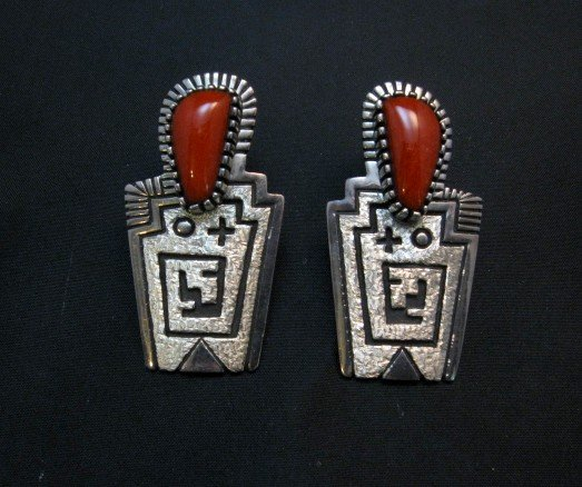 Image 0 of Chunky Older Navajo Coral Silver Earrings, Toney Mitchell