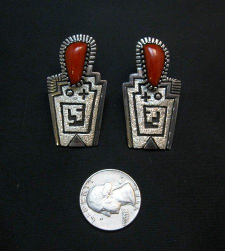 Image 2 of Chunky Older Navajo Coral Silver Earrings, Toney Mitchell