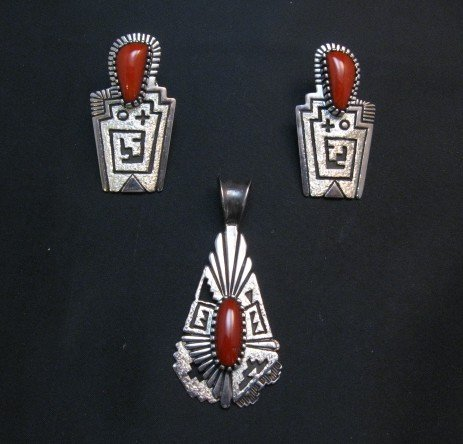 Image 4 of Chunky Older Navajo Coral Silver Earrings, Toney Mitchell