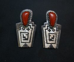 Chunky Older Navajo Coral Silver Earrings, Toney Mitchell