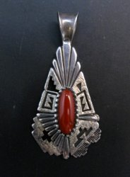 Older Navajo Toney Mitchell Coral Silver Pendant