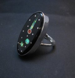 Navajo Inlaid Starry Night Sky Ring, Matthew Jack, sz5-3/4