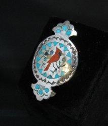 Sammy Esther Guardian Zuni Inlay Cardinal Ring, sz7