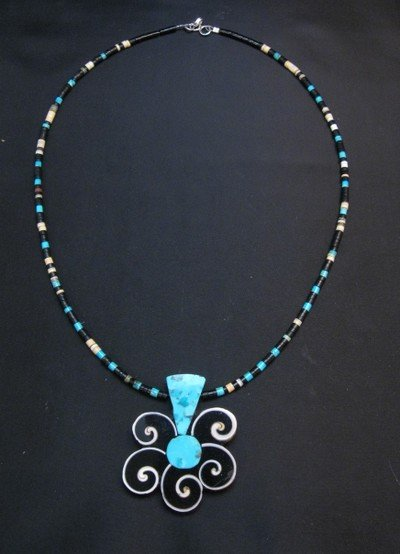 Image 2 of Mary Tafoya Santo Domingo Mosaic Inlay Flower Necklace