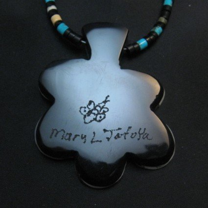 Image 4 of Mary Tafoya Santo Domingo Mosaic Inlay Flower Necklace