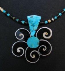 Mary Tafoya Santo Domingo Mosaic Inlay Flower Necklace