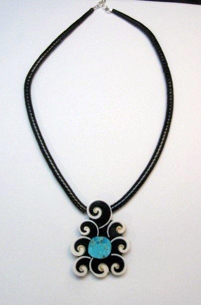 Image 1 of Abstract Mary Tafoya Santo Domingo Mosaic Inlay Necklace