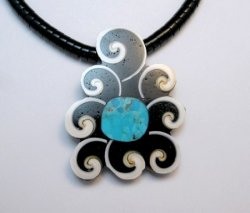 Abstract Mary Tafoya Santo Domingo Mosaic Inlay Necklace