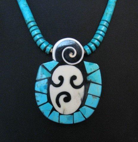 Image 0 of Santo Domingo Pueblo Indian Mosaic Inlay Necklace, Mary Tafoya