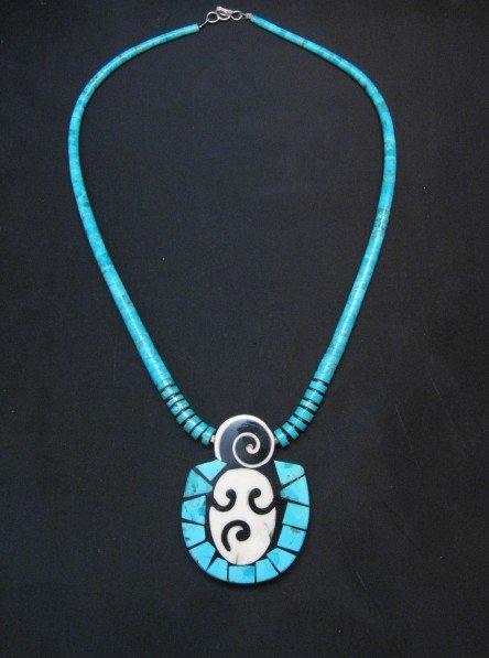 Image 1 of Santo Domingo Pueblo Indian Mosaic Inlay Necklace, Mary Tafoya