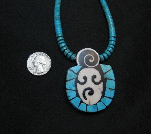 Image 5 of Santo Domingo Pueblo Indian Mosaic Inlay Necklace, Mary Tafoya