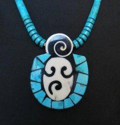 Santo Domingo Pueblo Indian Mosaic Inlay Necklace, Mary Tafoya
