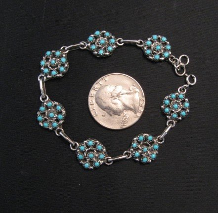 Image 1 of Randy Hooee Zuni Turquoise Snake Eye Cluster Link Bracelet