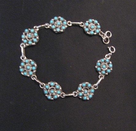 Image 3 of Randy Hooee Zuni Turquoise Snake Eye Cluster Link Bracelet