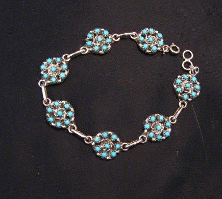 Image 0 of Zuni Sleeping Beauty Turquoise Flower Cluster Link Bracelet, Randy Hooee