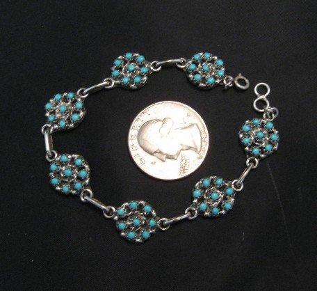 Image 3 of Zuni Sleeping Beauty Turquoise Flower Cluster Link Bracelet, Randy Hooee