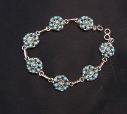 Zuni Sleeping Beauty Turquoise Flower Cluster Link Bracelet, Randy Hooee