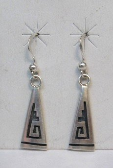 Image 0 of Hopi Sterling Silver Overlay Dangle Earrings, Willie Dawungnufti