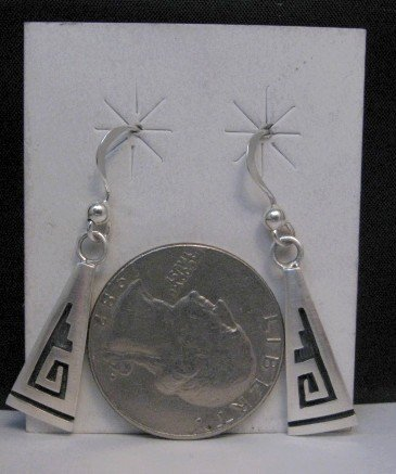 Image 1 of Hopi Sterling Silver Overlay Dangle Earrings, Willie Dawungnufti