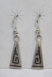 Hopi Sterling Silver Overlay Dangle Earrings, Willie Dawungnufti