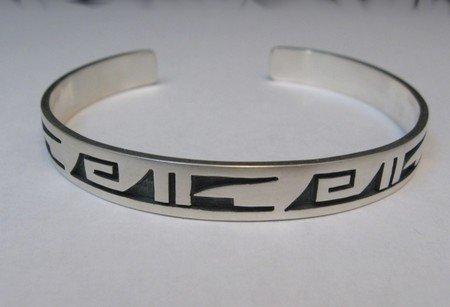Image 0 of Hopi Handmade Silver Overlay Bracelet, Willie Dawungnufti