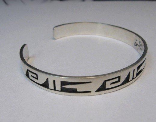 Image 1 of Hopi Handmade Silver Overlay Bracelet, Willie Dawungnufti