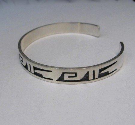 Image 2 of Hopi Handmade Silver Overlay Bracelet, Willie Dawungnufti