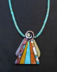 Santo Domingo Folk Art Multigem Inlay Necklace, Mary Tafoya