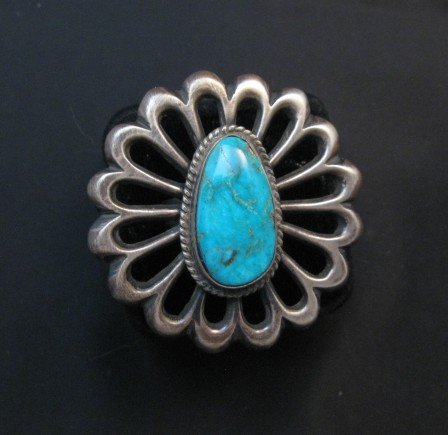 Image 0 of Navajo Sandcast Silver Turquoise Flower Ring Carol Wilson Begay sz8