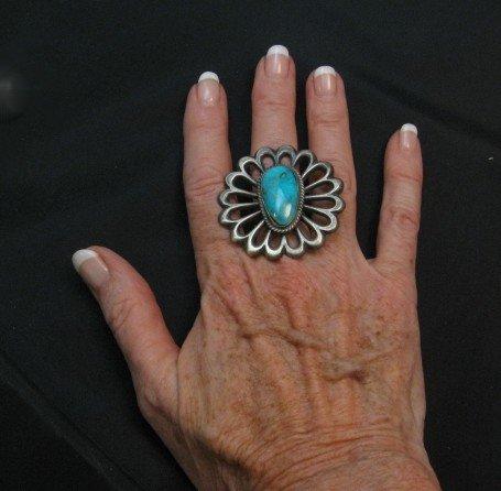 Image 1 of Navajo Sandcast Silver Turquoise Flower Ring Carol Wilson Begay sz8
