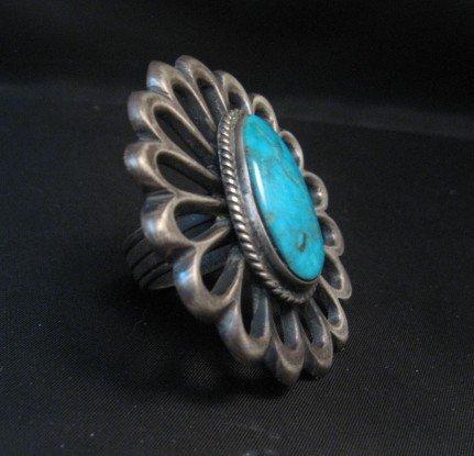 Image 3 of Navajo Sandcast Silver Turquoise Flower Ring Carol Wilson Begay sz8
