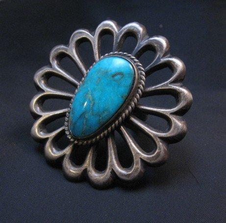 Image 4 of Navajo Sandcast Silver Turquoise Flower Ring Carol Wilson Begay sz8