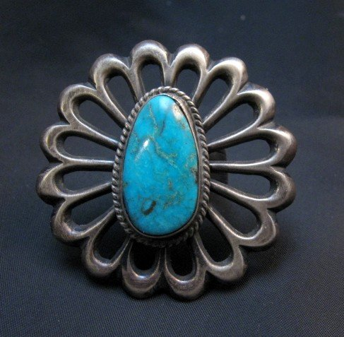 Image 5 of Navajo Sandcast Silver Turquoise Flower Ring Carol Wilson Begay sz8