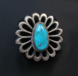 Navajo Sandcast Silver Turquoise Flower Ring Carol Wilson Begay sz8