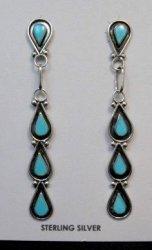 Long Zuni Turquoise Inlay Dangle Earrings Diana Shebola