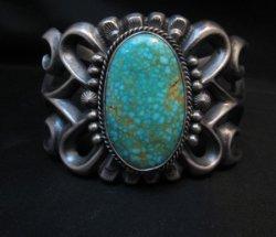 Navajo ~ Harrison Bitsue ~ Sandcast Turquoise Silver Bracelet