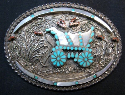 Image 0 of Vintage VM DISHTA Zuni Sterling Turquoise Coral MOP Inlay Conestoga Wagon Buckle