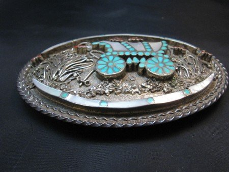 Image 1 of Vintage VM DISHTA Zuni Sterling Turquoise Coral MOP Inlay Conestoga Wagon Buckle