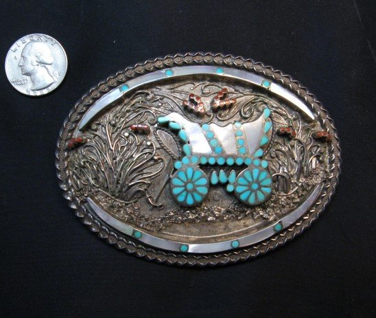 Image 2 of Vintage VM DISHTA Zuni Sterling Turquoise Coral MOP Inlay Conestoga Wagon Buckle