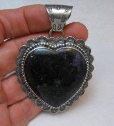 Navajo Purple Agate Heart Pendant, Everett and Mary Teller