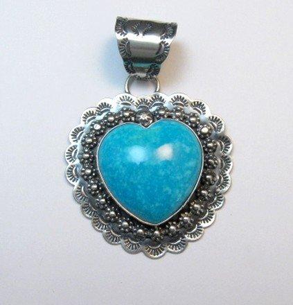 Image 0 of Fancy Navajo Kingman Turquoise Heart Pendant, Everett and Mary Teller