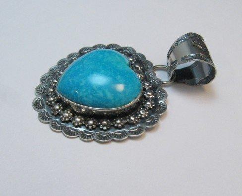 Image 1 of Fancy Navajo Kingman Turquoise Heart Pendant, Everett and Mary Teller