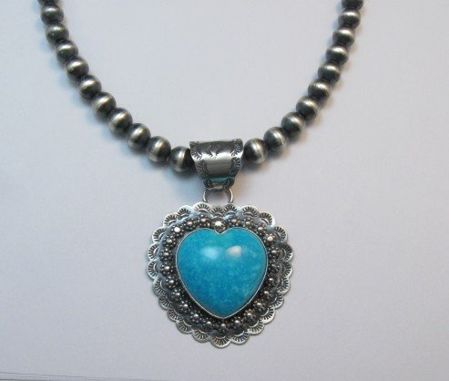 Image 2 of Fancy Navajo Kingman Turquoise Heart Pendant, Everett and Mary Teller