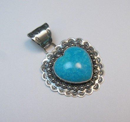 Image 3 of Fancy Navajo Kingman Turquoise Heart Pendant, Everett and Mary Teller