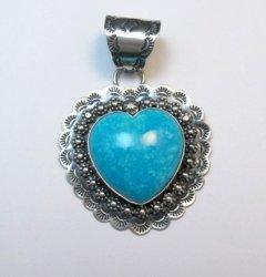 Fancy Navajo Kingman Turquoise Heart Pendant, Everett and Mary Teller