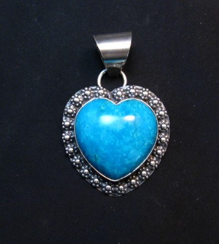 Image 0 of Navajo Natural Kingman Turquoise Heart Pendant, Everett and Mary Teller